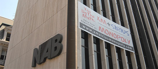NAB office building banner