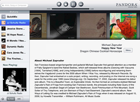 iPad Pandora app.